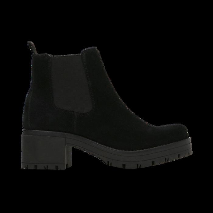 Chelsea Boots neri in vero camoscio, tacco medio 5,5 cm, Scarpe, 127723509CMNERO
