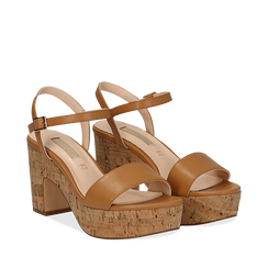 Sandali cuoio in eco-pelle, tacco in sughero 9 cm, Saldi Estivi, 138402256EPCUOI035, 002a