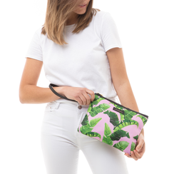 Pochette verde in raso con stampa jungle, Saldi Estivi, 115910014RSVERDUNI, 002 preview