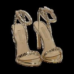 Sandali oro effetto specchio, tacco 11 cm, Sandali con tacco, 152133430SPOROG035, 002a