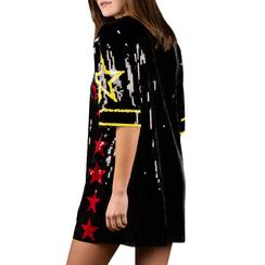 Minidress stellato nero con paillettes, 15B411408TSNEROUNI, 002a