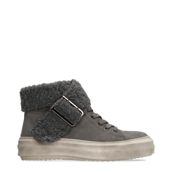 Sneakers grigie con risvolto in eco-shearling, 124110063MFGRIG035, 001a