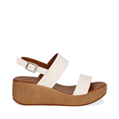 Sandali platform bianchi in eco-pelle, zeppa 5 cm , Primadonna, 13C700258EPBIAN036, 001a