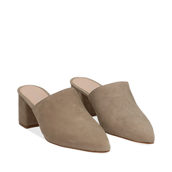 Mules taupe in camoscio con punta affusolata, tacco 6 cm, Scarpe, 13D602204CMTAUP035, 002a