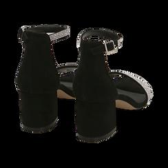 Sandalias en micorfibra con pedrería color negro, tacón 6 cm , OPORTUNIDADES, 154909511MPNERO036, 004 preview