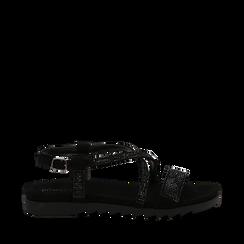 Sandali neri in microfibra con strass, Primadonna, 134922102MFNERO036, 001a