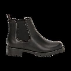 Chelsea boots neri in eco-pelle con micro boules, Scarpe, 140691301EPNERO036, 001 preview
