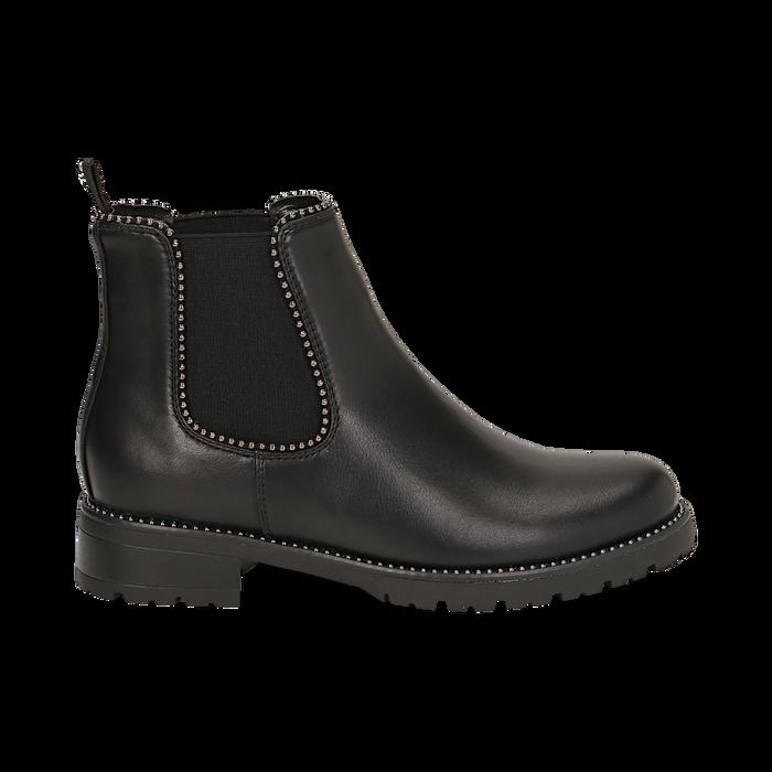 Chelsea boots neri in eco-pelle con micro boules, Scarpe, 140691301EPNERO036