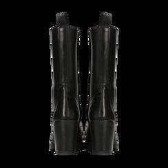 Anfibi neri in vera pelle con gambale alto, tacco 7,5 cm, Primadonna, 127723810PENERO, 003 preview