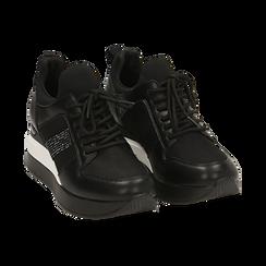 Sneakers nere in tessuto tecnico, zeppa 6 cm , Primadonna, 162801723TSNERO036, 002 preview