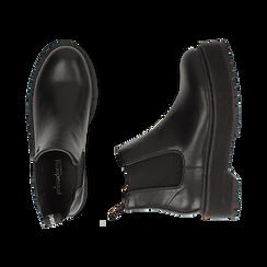 Chelsea boots neri, platform 5 cm , Primadonna, 160619239EPNERO035, 003 preview