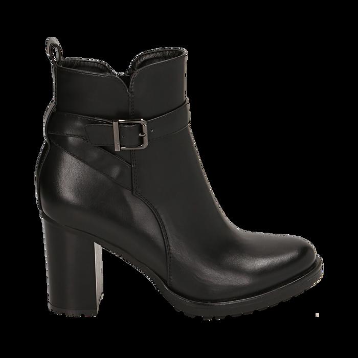 Ankle boots neri, tacco 8 cm , Primadonna, 163066173EPNERO036