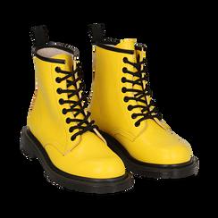 Anfibi gialli in eco-pelle, Stivaletti, 142801501EPGIAL035, 002a