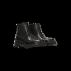 Chelsea Boots neri in vera pelle, tacco basso, Scarpe, 127723704VINERO035, 002