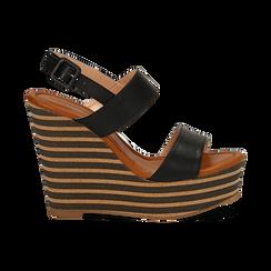 Sandali platform neri in eco-pelle, zeppa rigata 13 cm , Primadonna, 134986213EPNERO035, 001 preview
