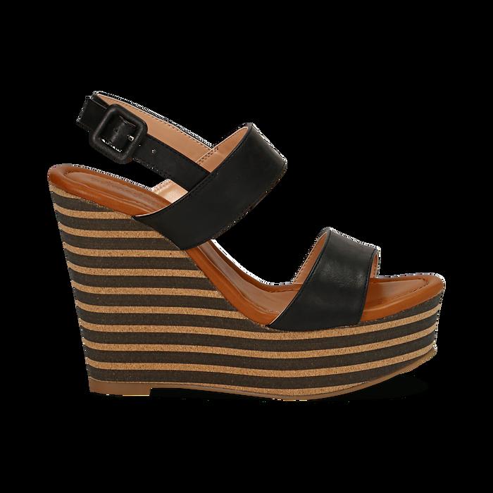 Sandali platform neri in eco-pelle, zeppa rigata 13 cm , Primadonna, 134986213EPNERO035