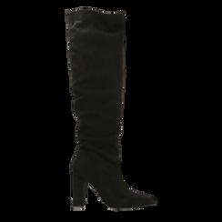 Stivali neri scamosciati con gambale dritto, tacco quadrato 9,5 cm, Primadonna, 122166717MFNERO, 001 preview