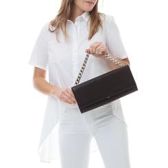Pochette nera in eco-pelle con maxi-catena, Borse, 133322173EPNEROUNI, 002 preview