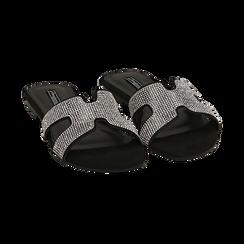 Ciabatte nere in microfibra con strass, Scarpe, 154983281MPNERO036, 002 preview