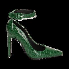 Décolleté verdi in eco-pelle effetto coccodrillo, tacco 11 cm ,