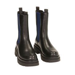 Chelsea boots noires/bleues, talon 5 cm , Primadonna, 180610101EPNEBL035, 002a