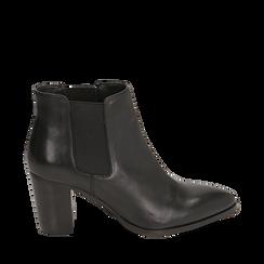 Chelsea boots neri in pelle di vitello, tacco 7 cm, Scarpe, 15J492446VINERO035, 001a