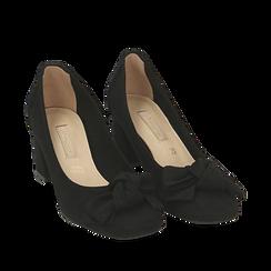 Escarpins noir en microfibre avec noeud, talon 5,50 cm , Chaussures, 152182281MFNERO037, 002a
