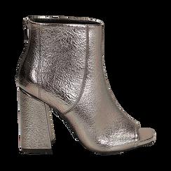 Ankle boots open toe canna di fucile, tacco 10 cm , Stivaletti, 142186951LMCANN035, 001a