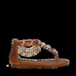 Sandali gioiello flat cuoio in raso , Primadonna, 133601507RSCUOI035, 001a