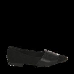 Ballerine a punta nere in microfibra , Scarpe, 144841126MFNERO035, 001a