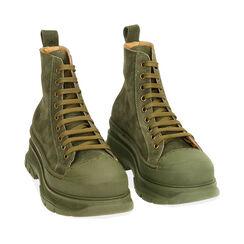 Sneakers verdi in camoscio, platform 5,5 cm , Primadonna, 18A504001CMVERD035, 002a
