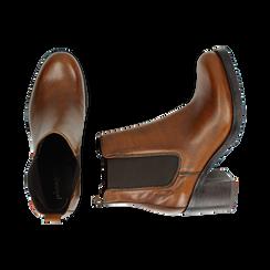 Chelsea boots cuoio in pelle, tacco 7,50 cm , Primadonna, 167734401PECUOI035, 003 preview
