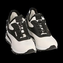 Sneakers bianche in tessuto con zeppa, Primadonna, 152803421TSBIAN036, 002 preview