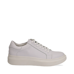 Sneakers bianche in eco-pelle con suola flat a509a72c6d0