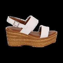 Sandali platform bianchi in eco-pelle, zeppa 8 cm , Saldi Estivi, 13A133255EPBIAN035, 001 preview