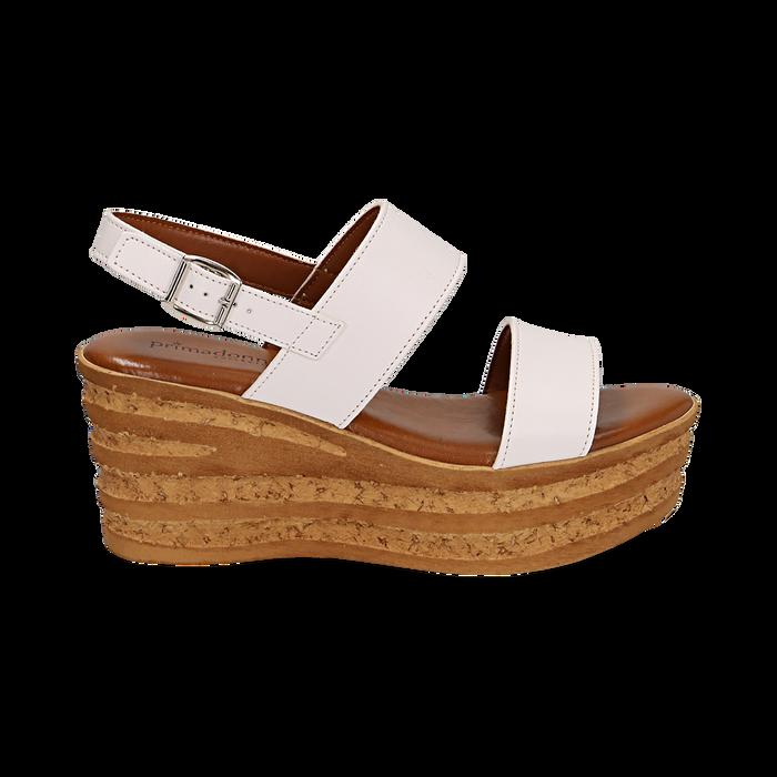 Sandali platform bianchi in eco-pelle, zeppa 8 cm , Saldi, 13A133255EPBIAN036