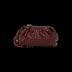 Maxi clutch bordeaux intrecciata, IDEE REGALO, 165122668EIBORDUNI, 001 preview