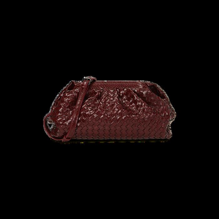 Maxi clutch bordeaux intrecciata, GIFT IDEAS, 165122668EIBORDUNI