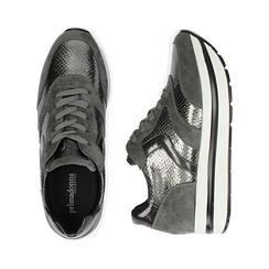 Sneakers platform grigie in eco-pelle, effetto snake skin, zeppa 4 cm , Scarpe, 142892263EVGRIG036, 003 preview