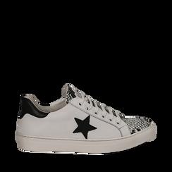 Sneakers bianco/nere in pelle con pattina snake skin, Scarpe, 13C300029PEBINE035, 001a