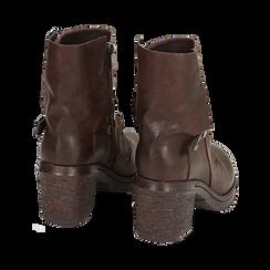Biker boots marroni in eco-pelle, tacco 5 cm , Stivaletti, 140736661EPMARR, 004 preview