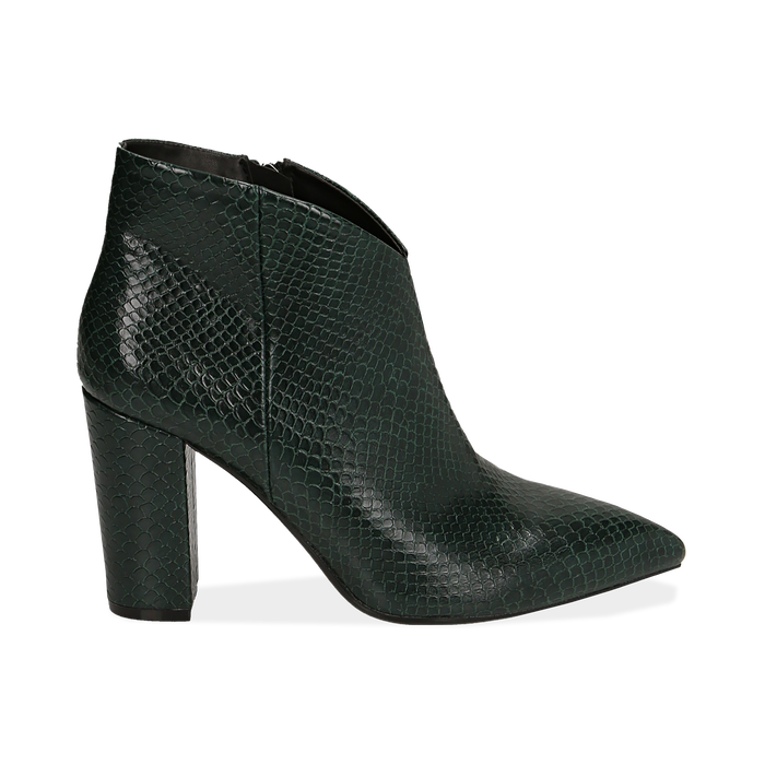 Ankle boots verdi stampa vipera, tacco 9 cm , Primadonna, 164916101EVVERD035