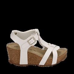 Sandali platform bianchi, zeppa in sughero 7 cm , Zapatos, 157801012EPBIAN035, 001a