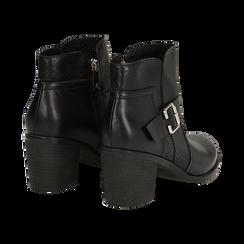 Ankle boots neri in eco-pelle con gambale traforato, tacco 7 cm, Scarpe, 130682987EPNERO037, 004 preview