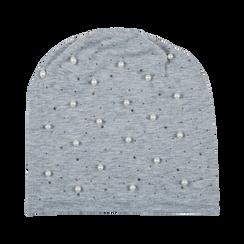 Berretto invernale grigio in tessuto con perle, Abbigliamento, 12B480739TSGRIG, 001 preview