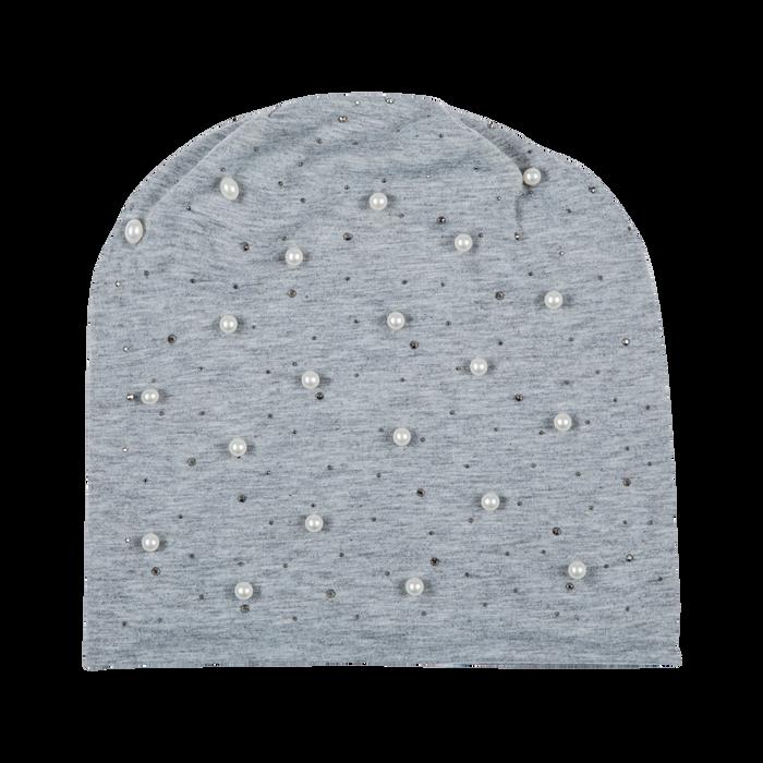 Berretto invernale grigio in tessuto con perle, Abbigliamento, 12B480739TSGRIG