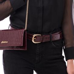 Cintura bordeaux in vernice stampa cocco, Abbigliamento, 144045701VEBORDUNI, 002a