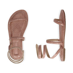 Sandali flat nude in eco-pelle snake print, Chaussures, 154928863PTNUDE036, 003 preview