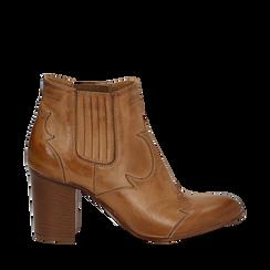 Ankle boots in pelle cuoio con banda elastica e tacco in legno 7,5 cm, Scarpe, 137725908PECUOI035, 001a