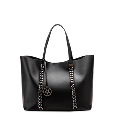 Borsa shopper nera in ecopelle con profilo catene, Saldi, 125702054EPNEROUNI, 001a